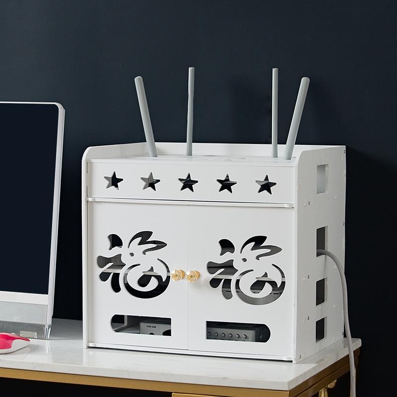 免打孔WiFi无线路由器收纳盒桌面机顶盒置物架插线板电线收纳神器