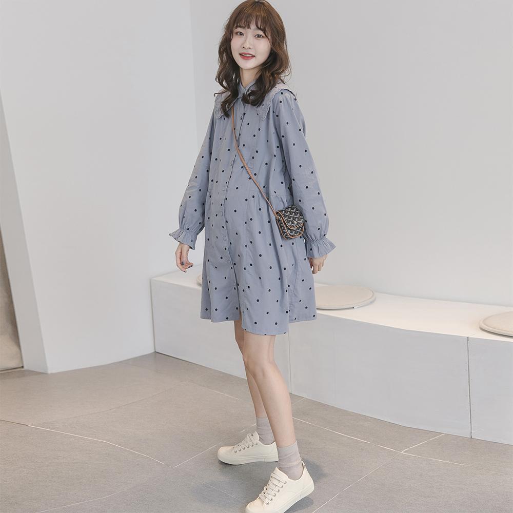 孕妇连衣裙春装中长款棉麻2020新款波点翻领外出可哺乳潮妈衬衫裙