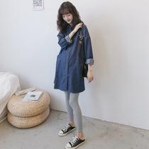 孕妇衬衫开衫外套春秋装套装时尚韩国休闲哺乳裙中长款长袖牛仔裙