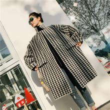 现货包邮冬季新品中长款千鸟格la11松显瘦ku绒大衣毛呢外套
