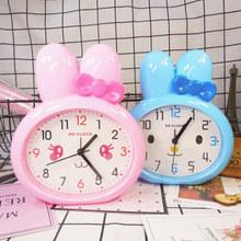包邮卡通闹钟(小)兔子闹钟创意kc10爱时钟an女孩个性儿童钟表