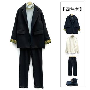 【四件套】宽松拼色毛呢大衣+毛衣+休闲裤+鞋子