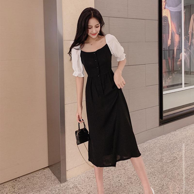 大Z家 法式复古连衣裙2019显瘦气质雪纺拼接627