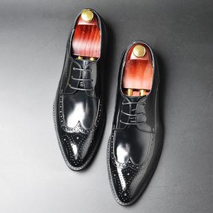 JIA LV BV布洛克商务男鞋尖头真皮镂空雕花男士皮鞋英伦风潮流新