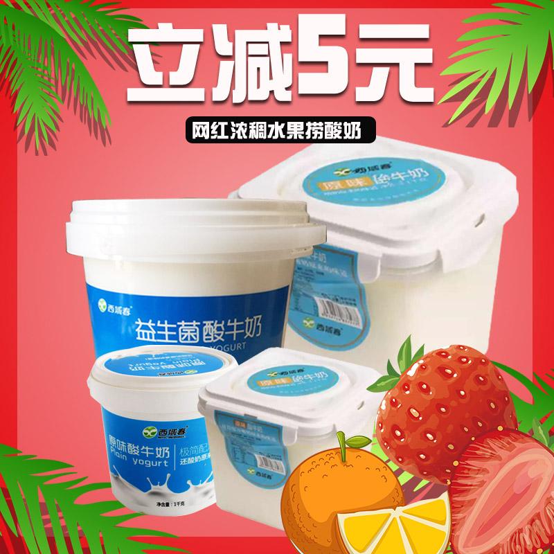 新疆西域春酸奶大桶装3斤网红老酸奶浓稠水果捞原味全脂发酵乳