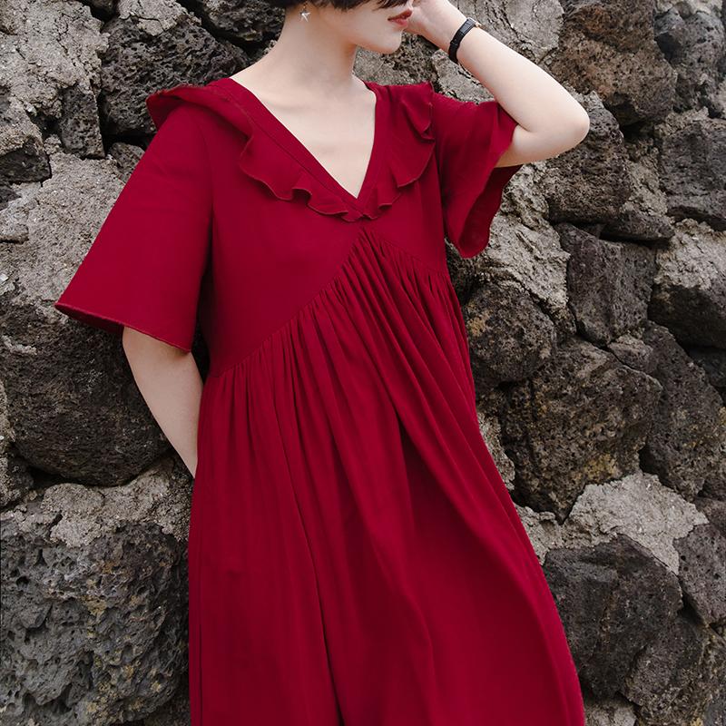 安妮森林 文艺复古法式优雅V领木耳褶红色连衣裙女2018夏季新款