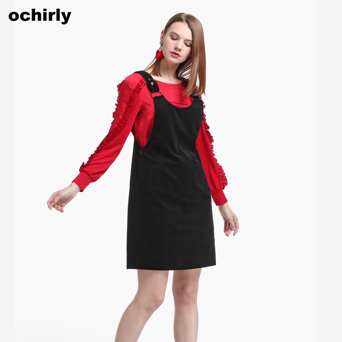 【双11返场184元】ochirly欧时力灯芯绒背带连衣裙1JZ3085110