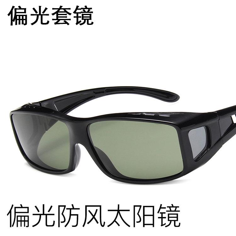 新款防风骑行偏光太阳眼镜男女大框户外开车钓鱼近视用套镜墨镜潮