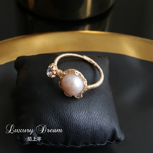 Mo Shang 芊 Original Design Forefinger Ring Female Korea Simple Personality Natural Freshwater Pearl Ring