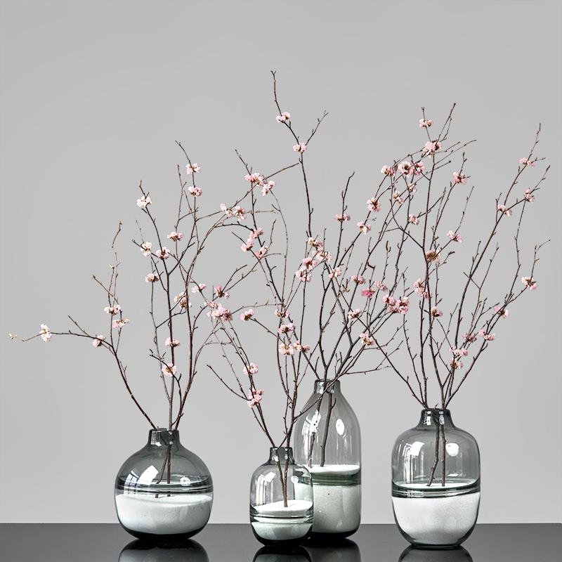 樱花永生花绣球干花花束家居摆设真花长枝客厅落地带花瓶北欧套装