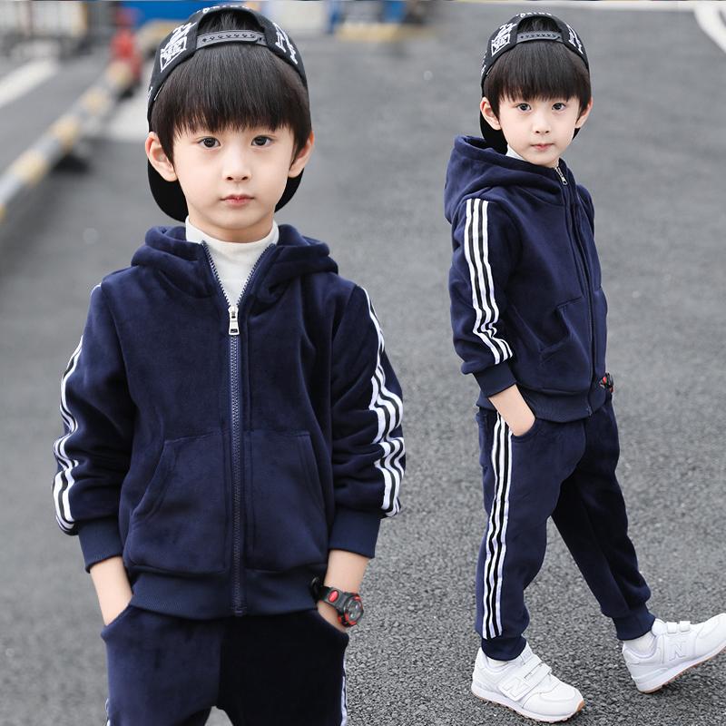 童装男童金丝绒秋冬装运动加绒套装2018新款儿童洋气两件套潮