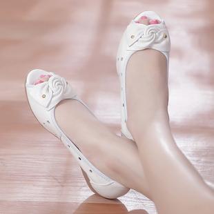 夏季舒适坡跟中年妈妈鞋凉鞋真皮