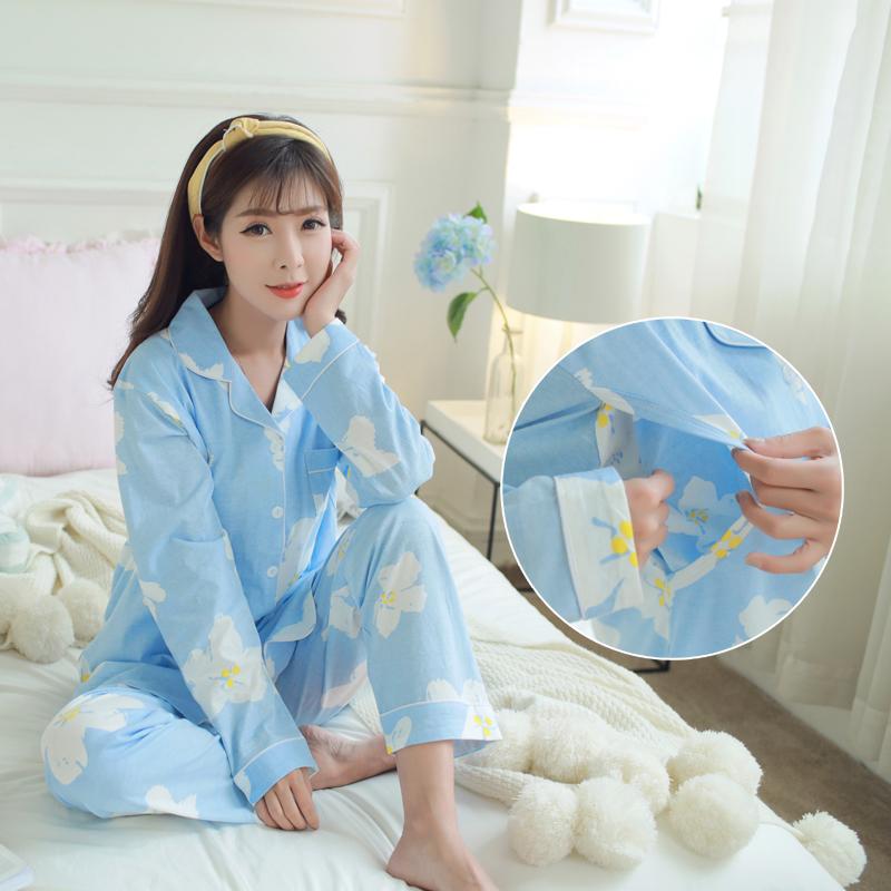 春夏季孕妇睡衣月子服纯棉产妇喂奶产后春秋哺乳衣外出家居服套装