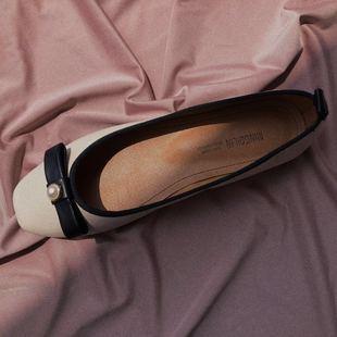 晚晚风 张旅菲智熏同款鞋 芭蕾舞复古方头赫本风珍珠平底奶奶单鞋