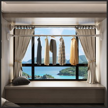 免打孔窗帘伸缩杆卧室阳台晾衣jj11浴室衣zs撑杆晾衣架