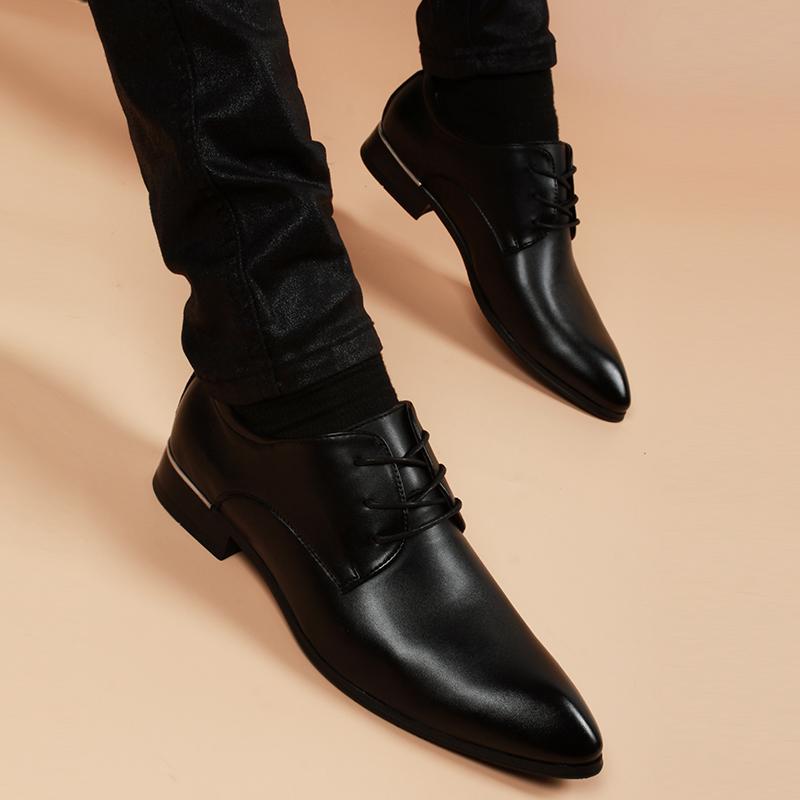 [¥123]英伦尖头内增高正装皮鞋男士真皮冬季加绒保暖韩版潮商务休闲男鞋