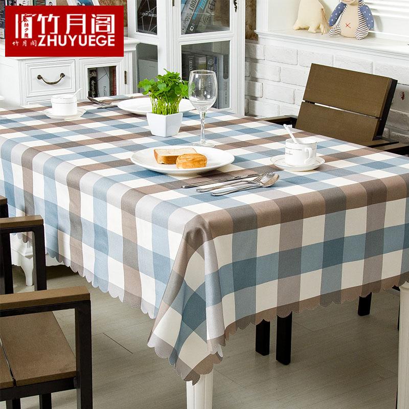 桌布布艺棉麻亚麻风格小清新欧式防水格子餐桌布北欧茶几盖布
