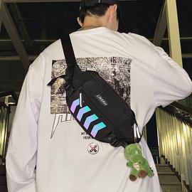 斜挎包潮牌ins男士胸包反光运动小背包女单肩包嘻哈个性学生腰包