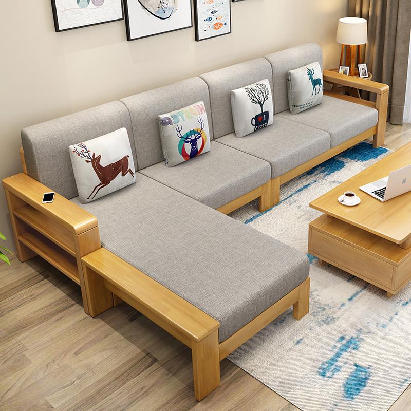 中式全实木沙发组合现代简约三人位木沙发小户型转角贵妃拉床沙发