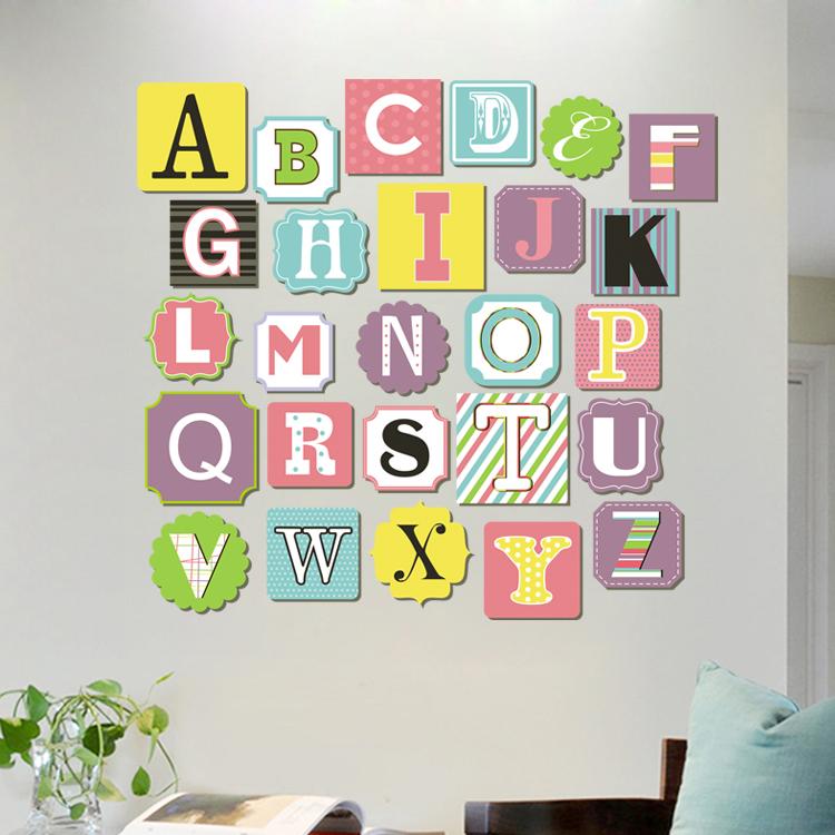 早教英文字母贴纸英语单词卡通动物墙贴儿童房幼儿园教室壁画自粘
