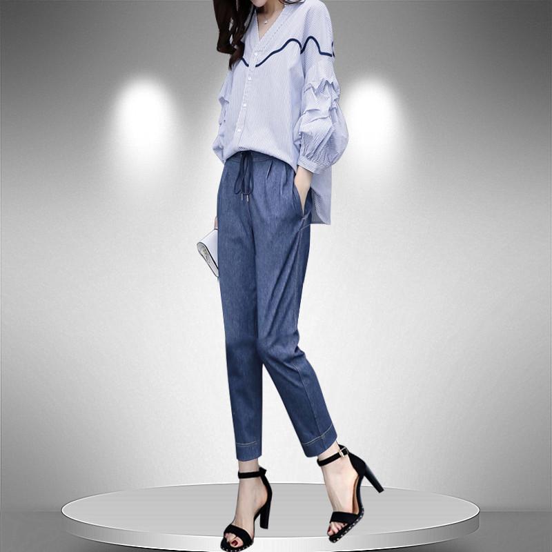 2019新款女装春季两件套裤灯笼袖上衣小脚裤萝卜裤休闲时尚套装女