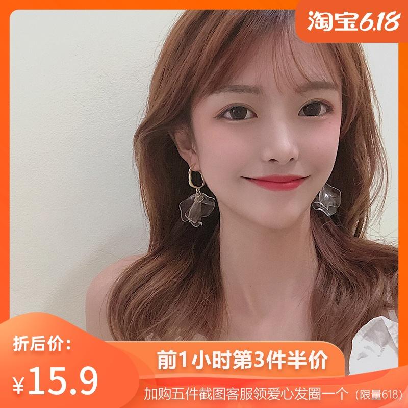 韩国超仙透明花瓣高级感耳环长款气质ins冷淡风个性网红耳钉R921