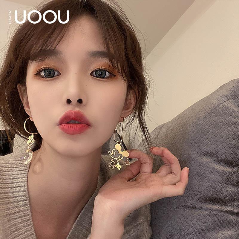 可爱搞怪耳坠网红不对称趣味小老鼠耳环韩国气质新款潮个性耳钉女