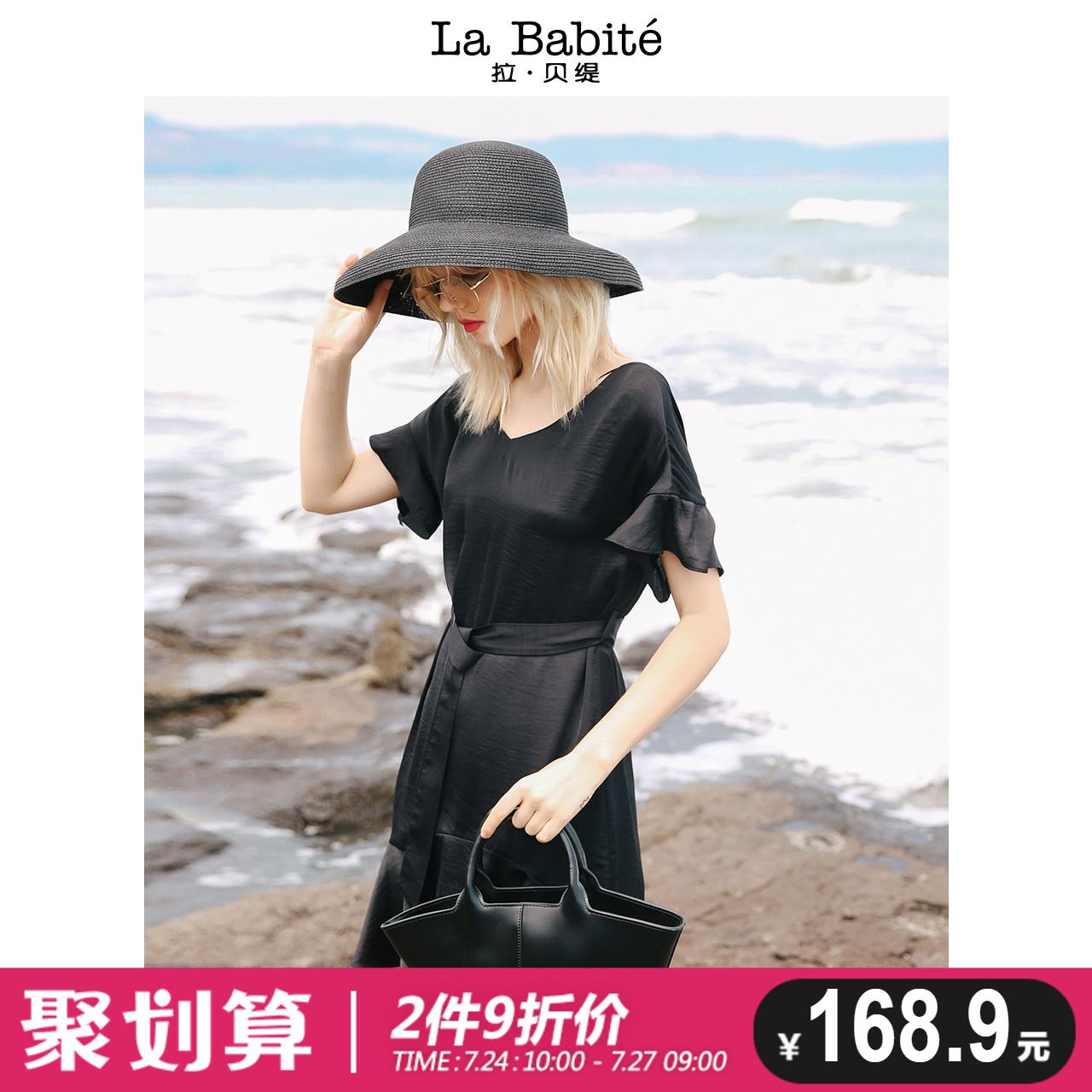 赫本小黑裙连衣裙女夏季2018新款气质冷淡风短款荷叶边鱼尾裙子仙