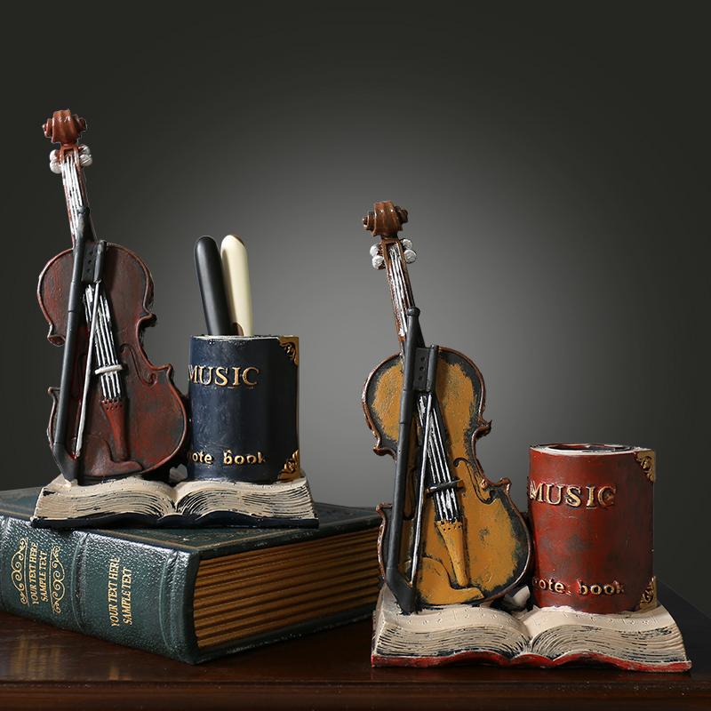 美式复古小提琴创意书桌面个性笔筒摆件书房办公室装饰品实用礼物