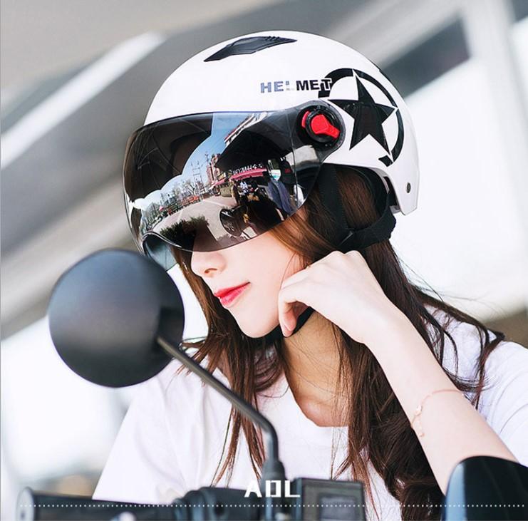 点击查看商品:现货  夏季轻便式摩托车头盔防晒电动车半头安全帽防紫外线