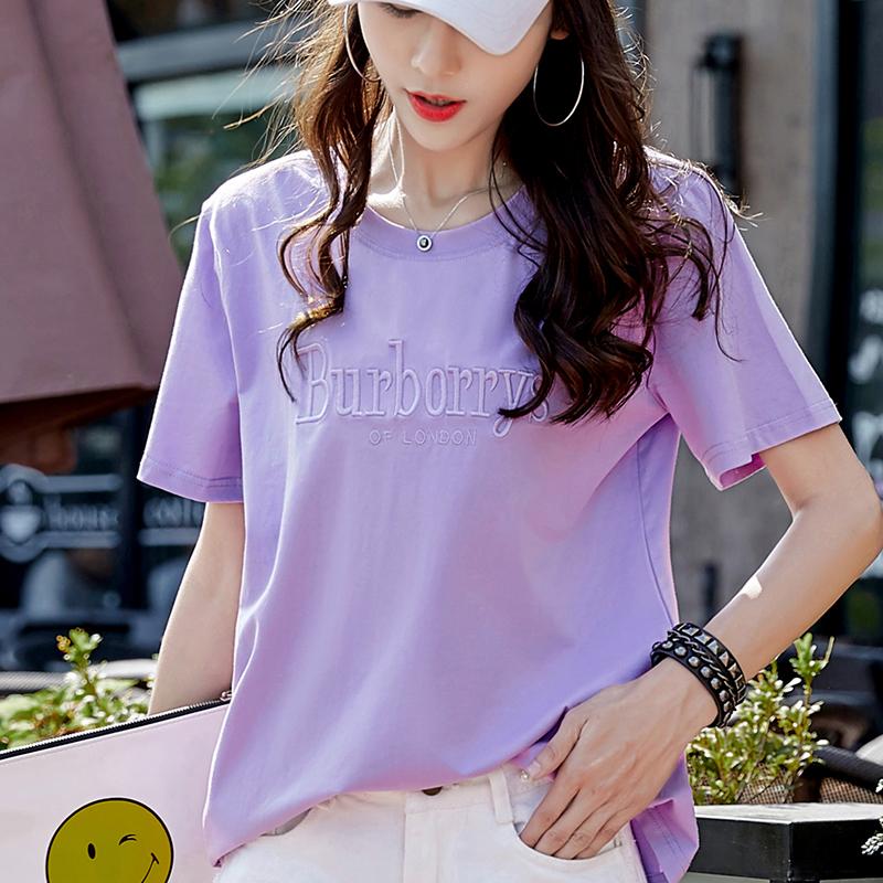 【2件69】t恤女短袖2018新款韩版宽松大码胖mm紫色纯棉体恤上衣夏