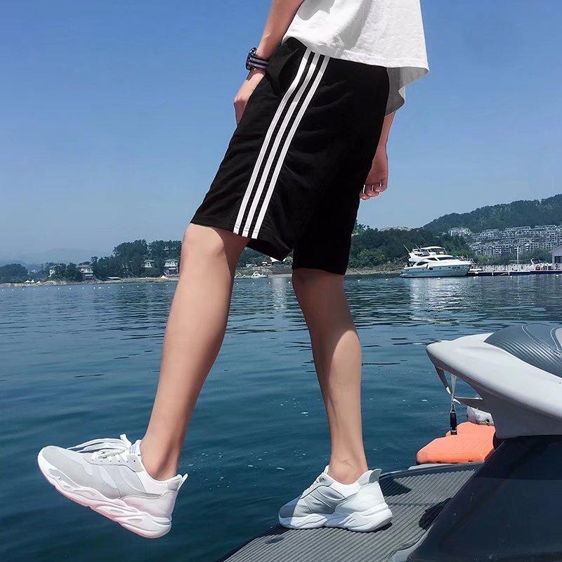 夏季短裤男士休闲韩版宽松五分裤条纹直筒沙滩裤学生修身5分中裤