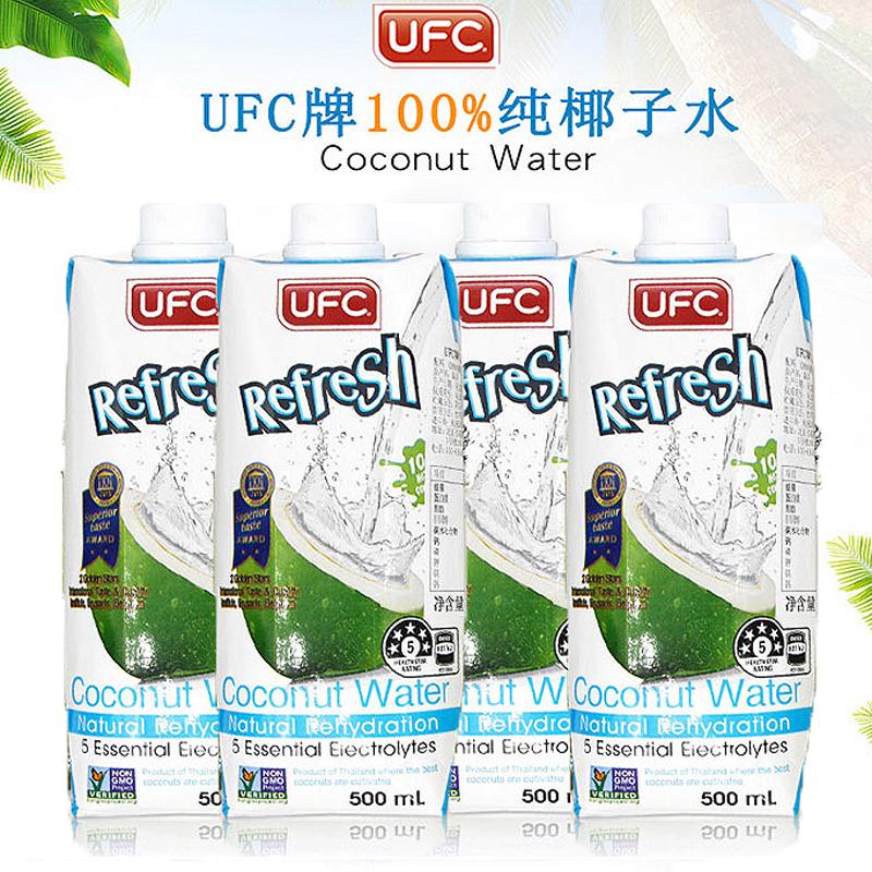 泰国进口UFC100%纯椰子水饮料500ml*4瓶清甜原味青椰汁纯果蔬汁