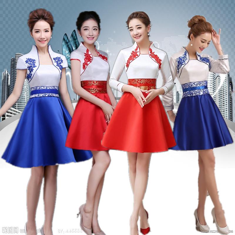 新款改良旗袍长短款学生迎宾聚会表演年会晚礼服修身迎宾礼仪服装