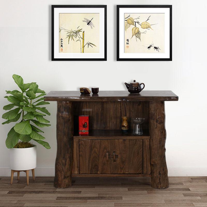 原木家具 现代简约香樟木两门茶水柜 全实木餐厅餐边柜玄关柜