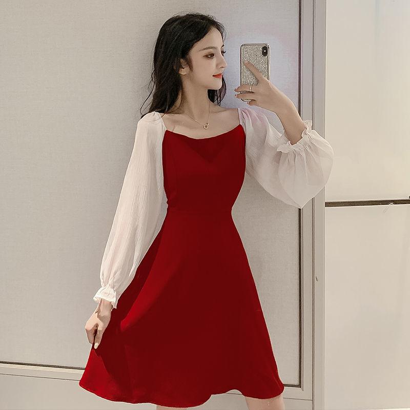 2020新款很仙的拼接连衣裙韩版女装方领高腰灯笼袖气质中长款裙 -