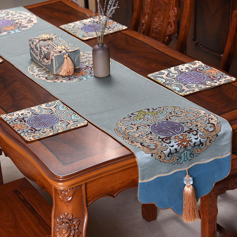 新中式现代桌旗中国风古典禅意桌布客厅餐桌电