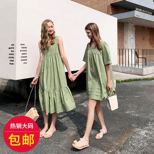 韩版大码夏季连衣裙_显瘦、百搭、闺蜜连衣裙