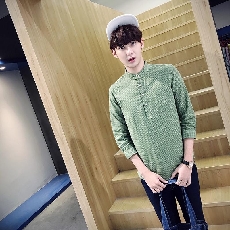 春潮男装新款套头衬衫格子衬衣外套修身工装青年学生C51P45