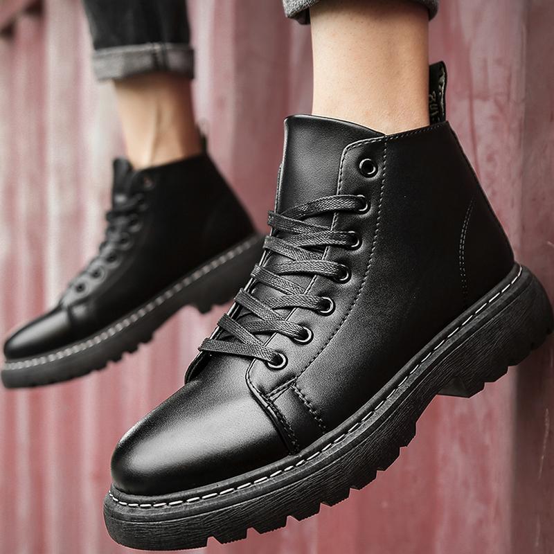 马丁靴男士短靴夏季耐磨男鞋子中筒高帮厚底增高中帮黑色皮靴