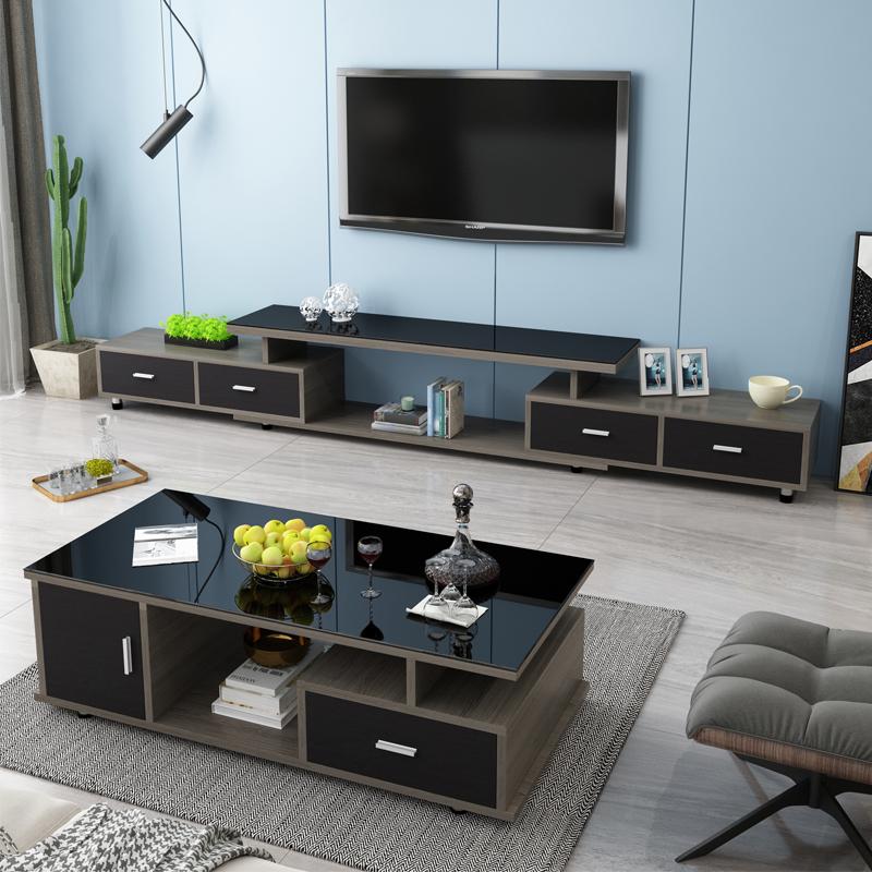 电视柜茶几组合简约现代钢化玻璃客厅家用伸缩地柜小户型电视机柜