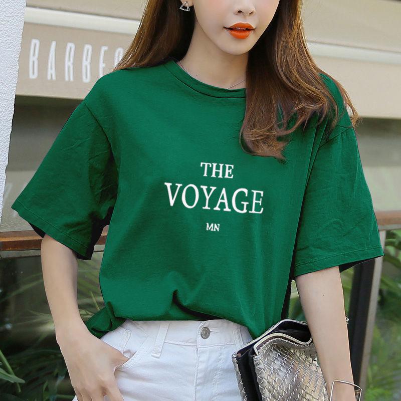 x5短袖女T恤学生韩版宽松大码夏季女装新款衣服印花体恤ins上衣潮