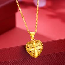 黄金项链吊坠女士qy5链 女式be金盒子链水波链爱心玫瑰式吊坠