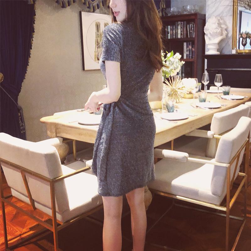 不规则系带交叉v领修身绑带亮片连衣裙开叉银色闪闪亮丝气质裙子
