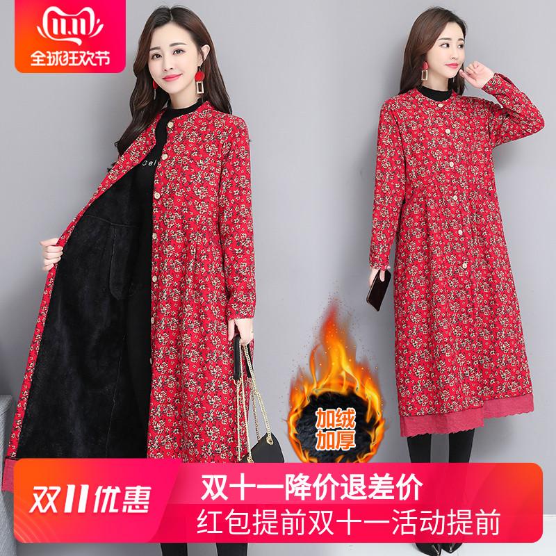民族风大码女装复古印花加绒加厚蕾丝拼接棉麻保暖外套秋冬风衣潮