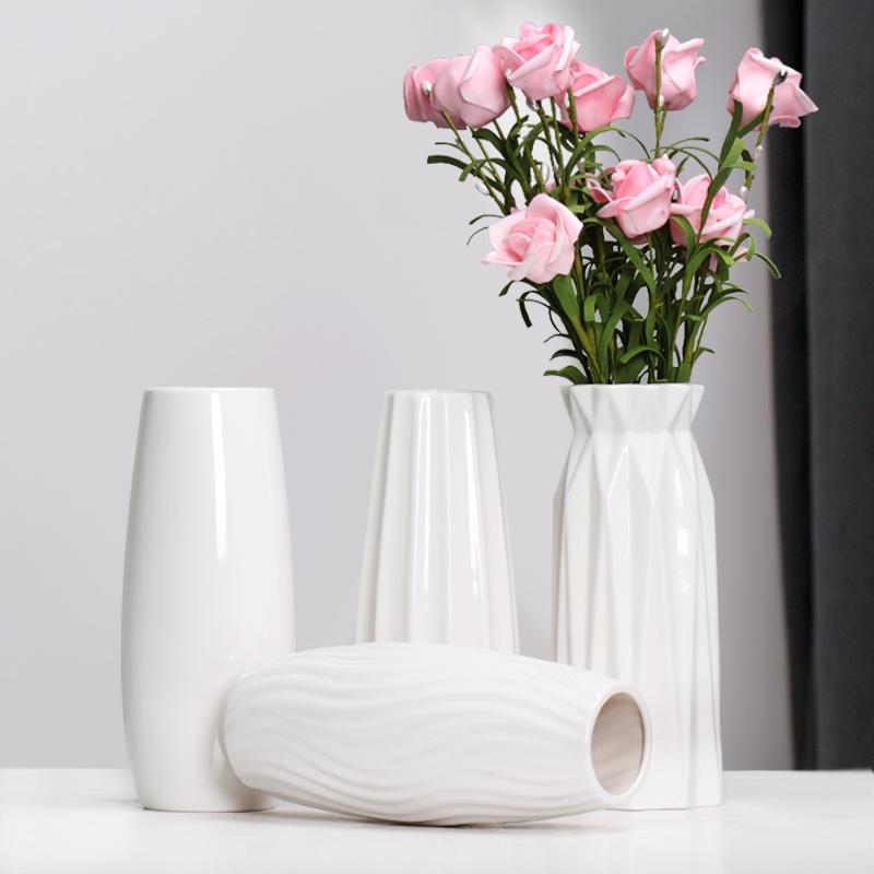 现代陶瓷满天星花瓶小清新水培摆件白色客厅干花插花北欧家居装饰