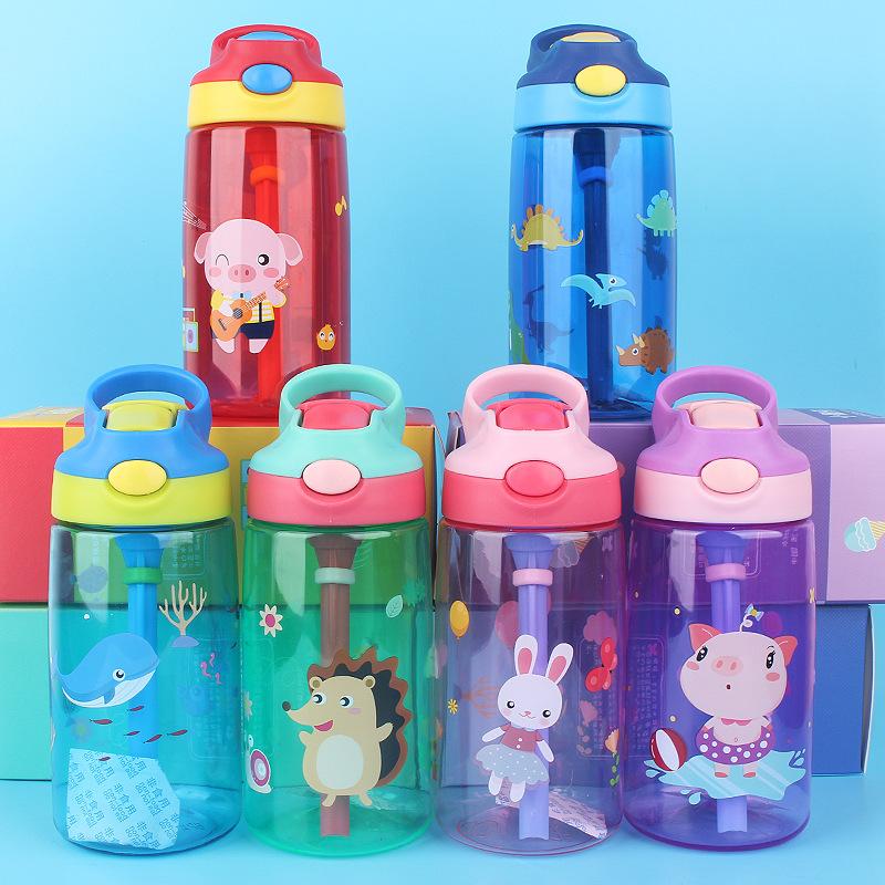 tritan小靓仔塑料儿童水杯便携学生卡通鸭嘴式儿童壶吸管杯包邮