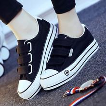 夏季魔术贴女帆布鞋厚底黑色布鞋韩款xb14鞋透气-w学生板鞋