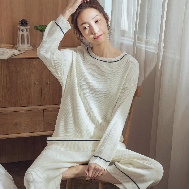 睡衣女春秋纯棉长袖薄款春夏季白色韩版宽松可外穿休闲家居服套装