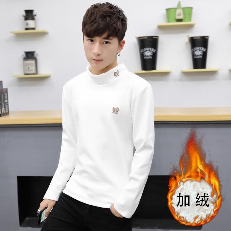 男士长袖t恤秋冬季韩版潮流修身半高领打底衫加绒加厚上衣服男装